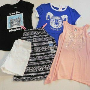 NWT 5pc Justice Tops & Jean Shorts